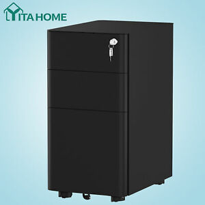 Yitahome 3 Drawer Vertical File Cabinet Rolling With Legal letter a4 Size Black