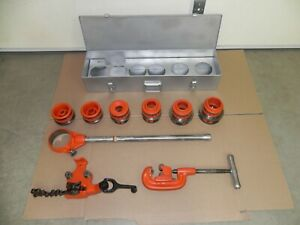 Ridgid 12r Set 1 2 2 case Bc 210 Bench Vice Cutter Ext Condition Nice