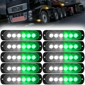 10x Green white Led Car Truck Emergency Beacon Warning Hazard Flash Strobe Light