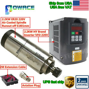 Usa 2 2kw 220v Air Cooling Spindle Motor Er20 8a hy 2 2kw Inverter F Cnc Router