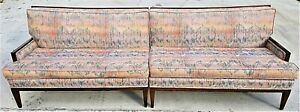 1950 S Vtg Mid Century Danish Modern 2 Piece Flame Stitch Sofa Very Comfortable