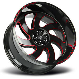4 new 20 Off road Monster M07 Wheels 20x10 6x5 5 6x139 7 19 Black Milled Red R