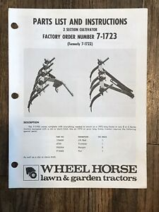 Wheel Horse 2 Section Cultivator 7 1723 Instruction Parts List
