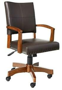 Deluxe Wood Bankers Desk Chair With Faux Leather And Antique Bronze Espresso