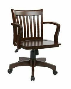 Deluxe Wood Bankers Desk Chair With Wood Seat Espresso
