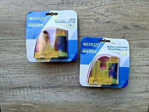Westcott Battery Operated Titanium Bonded Non stick Pencil Sharpener Lot Of 2