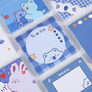 Cute 50 Sheets School Office Study Memo Block Blue Bear Sticky Note Pad Paper