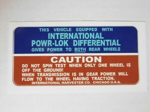 International Harvester Pickup And Travelall New Power lock Differential Decal