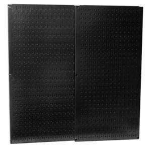 Wall Control Metal Pegboard Pack Powder coated Black Two panels 32 In X 16 In