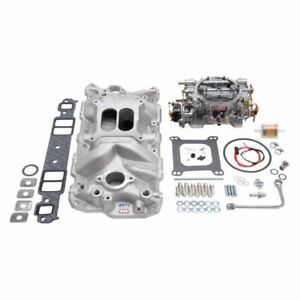 Edelbrock 2021 Single Quad Manifold And Carb Kit For 1957 86 Small Block Chevy