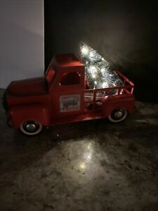 Vintage Red Metal Truck Christmas Lighted Magnetic Tree Sign On Both Doors 18 L