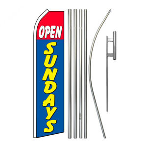 Advertising Swooper Flag Pole Kit Feather Flutter Banner Welcome Open Sundays