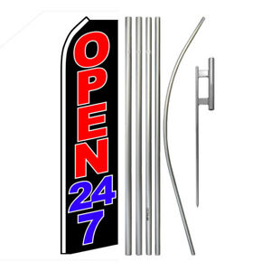 Advertising Swooper Flag Pole Kit Feather Flutter Banner Sign Welcome Open 24 7