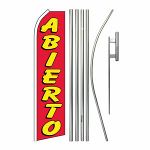 Advertising Swooper Flag Pole Kit Feather Flutter Banner Welcome Open Abierto