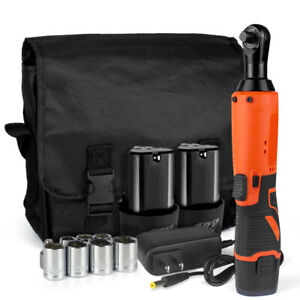 3 8 Electric Cordless Ratchet Wrench Right Angle Set W 2 Batteries 7 Socket