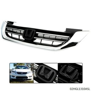 Front Bumper Radiator Upper Chrome Grille Grill Fit For Honda Accord 2013 2015