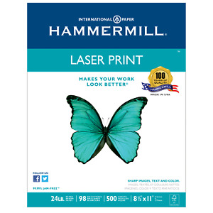 Hammermill Laser Print Paper Letter White 24lb 98 bright 500 Sheets New