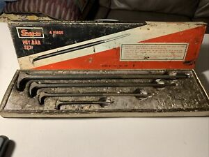 Vintage Snap On 4 Piece Rolling Head Pry Bar Set 6 20 Pbs704 In Original Box