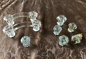 Vintage Faceted Glass Cabinet Drawer Handles And Knobs Depression Style 8 Pieces