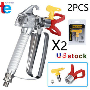 2 Pack 3600 Psi Airless Paint Spray Gun With 517 Tip Tip Guard For Sprayers