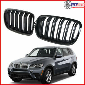 M Style Dual Slat Gloss Black Front Kidney Grill For Bmw X5 E70 E71 E72 2007 14