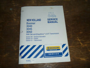 New Holland Boomer 3050 Tractor Cvt Transmission Engine Service Repair Manual