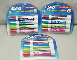 Expo Low odor Dry Erase Markers Chisel Tip Fashion Colors 4 count Lot 3