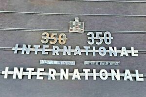 Set Of Ih International Harvester 350 Utility Tractor Side Script Hood Emblems