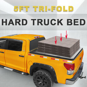5ft Hard Tonneau Cover For 05 18 Nissan Frontier Short Truck Bed Tri fold W Led