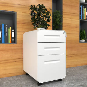 Yitahome 3 drawer Mobile File Cabinet Steel Locking Vertical Organizer Office