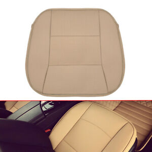 Breathable Pu Leather Deluxe Beige Seat Cushion Car Front Seat Cover Auto Parts