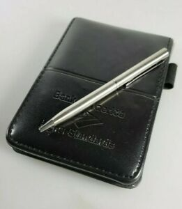 Bank Of America Logo Soft Faux Leather Writing Notepad Pen Black New W Box