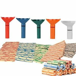 Coin Counters Coin Sorters Tubes Bundle Of 5 Color coded Coin Tubes And 110