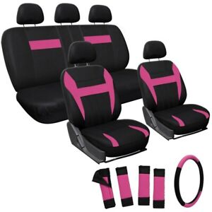 Car Seat Covers Pink Black 17pc Set For Auto W steering Wheel belt Pad head Rest