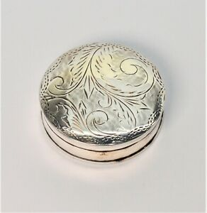 Vintage Handcrafted 925 Sterling Silver Pill Snuff Trinket Pin Box