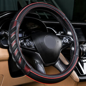 Universal Car Steering Wheel Cover Leather Red Black Massage Auto Accessories