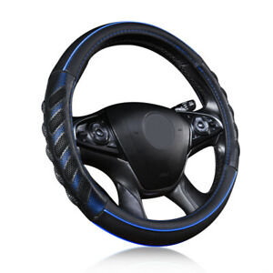 15 Auto Car Steering Wheel Cover Leather Universal Protectors Blue Black Sporty