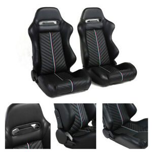 Racing Seats Pair Black Pvc Leather Left right Reclinable Bucket Strip 2 Sliders