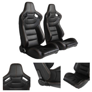 Pair Racing Bucket Seats Black Pvc Leather Orange Stitch Back Carbon 2 Sliders