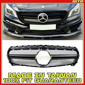 Bumper Radiator Upper Grille Matte Black For Mercedes Cla250 14 19 Cla45 Style
