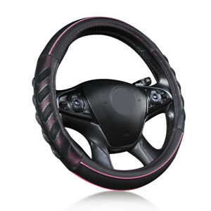 Car Steering Wheel Cover Leather Universal Auto Accessories Pink Black Sporty