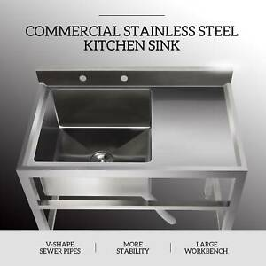 1 Compartment Stainless Steel Restaurant Prep Sink Prep Sink Utility Drain Board