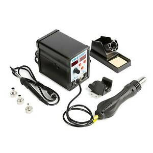898d Digital 2 In 1 Smd Soldering Iron And Hot Air Rework Station W 11 Iron Tips