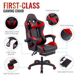 Ergonomic Computer Gaming Chair With Footrest Lumbar Massage Support