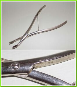 Vintage Medical Instrument Tool Surgical bone Rongeurs With Round Gap Bent