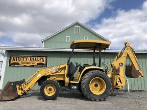 John Deere 110 4x4 Tractor Loader Backhoe Tlb Clean Low Hours Cheap Shipping