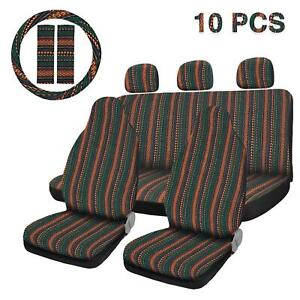 10pcs Full Set Universal Green Front Seat Covers Car Blanket Seat Covers
