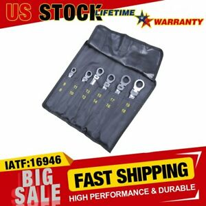 6pc Flex Head Double Box End Ratcheting Wrenches Set Spanner W Oxford Tool Bag