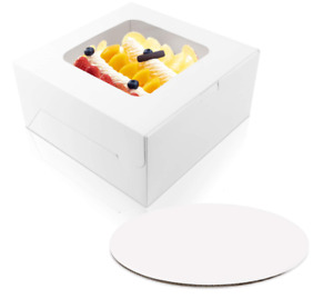 30 Sets 10 X 10 X 5 Inches Cake Bakery Boxes With Window And 10 Inches Round Cak