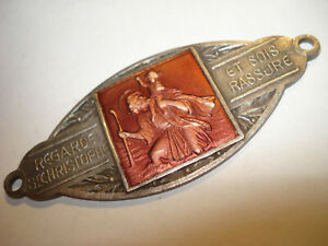 Vintage Automobile Car Badge Regarde St Christopher Et Sois Rassure France